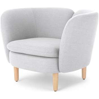 Elio Accent Chair, Snow Grey Weave (H71 x W93 x D80cm)
