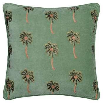Elizabeth Scarlett - African Palmier Velvet Cushion - Khaki (H45 x W45cm)