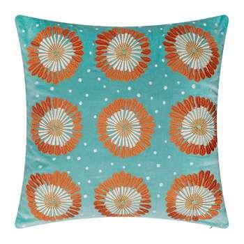 Elizabeth Scarlett - Lamu Velvet Cushion - Nile Blue (H45 x W45cm)
