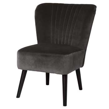 Charcoal Grey Velvet Bedroom Chair (77 x 43cm)