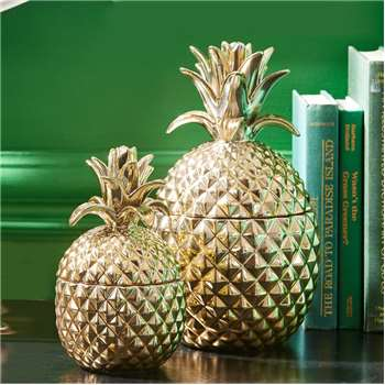 Ella James Gold Pineapple Decorative Storage Jar, Medium (20 x 11cm)