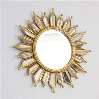 Layered Glass Sunburst Wall Mirror (H45 x W45cm)