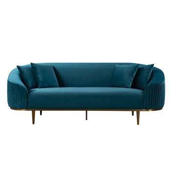 Ella Three Seat Sofa - Peacock (H80 x W223 x D92cm)