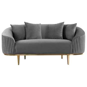 Ella Two Seat Sofa - Dove Grey- Brass Base (H80 x W172 x D92cm)