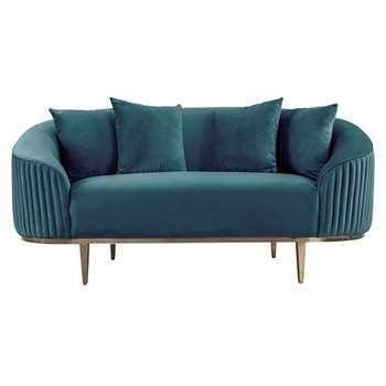 Ella Two Seat Sofa - Peacock- Brass Base (H80 x W172 x D92cm)
