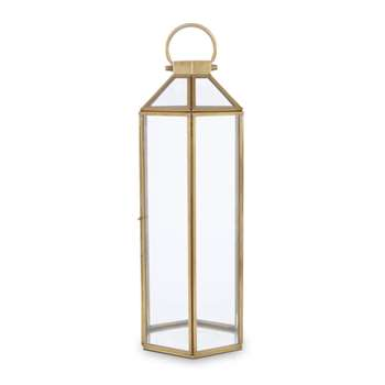 Ellington Hexagonal Brass Effect Large Lantern (H47.5 x W17 x D17cm)
