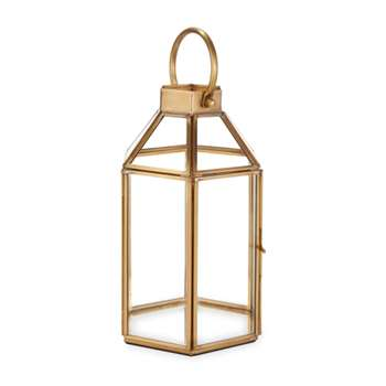 Ellington Hexagonal Brass Effect Tealight Holder (H21 x W12 x D12cm)