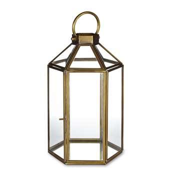 Ellington Hexagonal Lantern in Brass Effect (31 x 17cm)