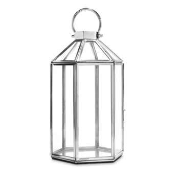 Ellington Hexagonal Lantern Silver Effect (H31 x W17 x D15cm)