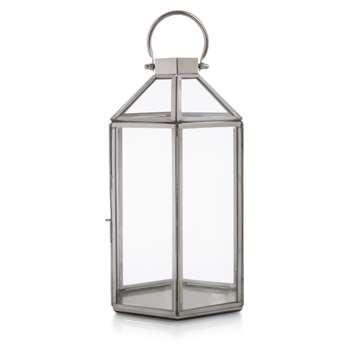 Ellington Hexagonal Silver Effect Large Lantern (H47.5 x W17 x D17cm)