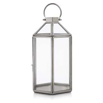 Ellington Hexagonal Tealight Holder Silver Effect (21 x 12cm)