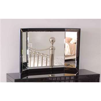 ELLY Black Glass Triple Folding Mirror (H55 x W90cm)