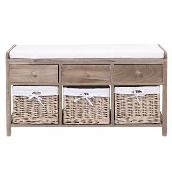 ELOISE Wood and cotton storage bench (56 x 103cm)
