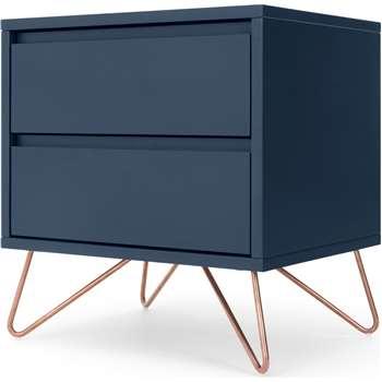 Elona Bedside, Dark Blue and Copper (H53 x W50 x D40cm)