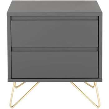 Elona Bedside Table, Charcoal and Brass (50 x 53cm)