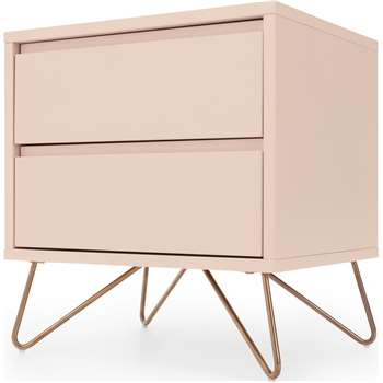 Elona Bedside Table, Dusk Pink and Copper (H53 x W50 x D40cm)