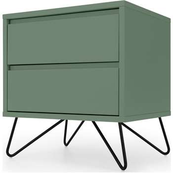 Elona Bedside Table, Fern Green and Black (H53 x W50 x D40cm)