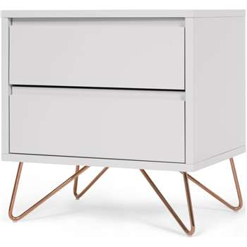 Elona bedside table, grey and copper (53 x 50cm)