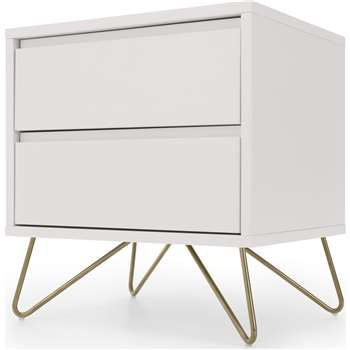 Elona Bedside Table, Ivory White & Brass (H53 x W50 x D40cm)