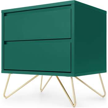 Elona Bedside Table, Racing Green and Brass (H53 x W50 x D40cm)