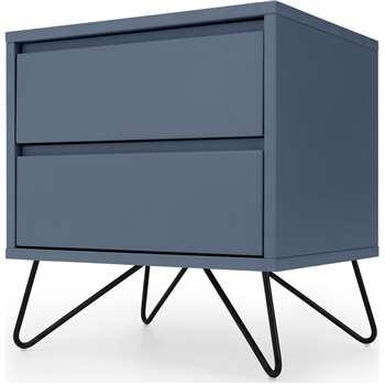Elona Bedside Table, Slate Blue & Black (H53 x W50 x D40cm)