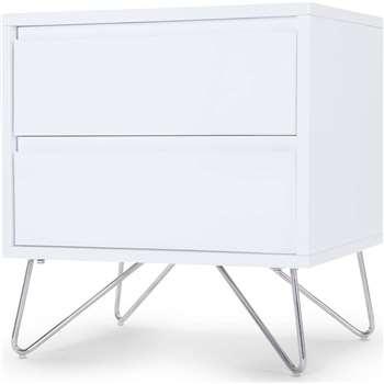 Elona Bedside Table, White Gloss (53 x 50cm)