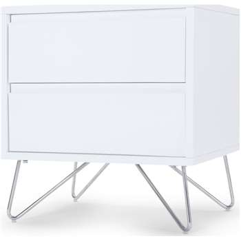 Elona Bedside Table, White Gloss and Chrome (H53 x W50 x D40cm)
