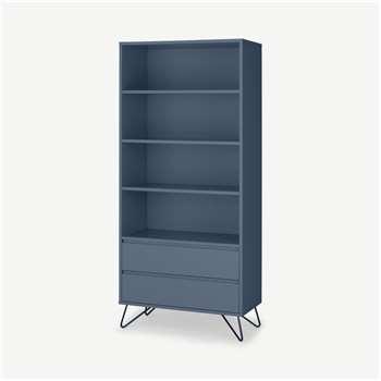 Elona Bookcase, Slate Blue & Black (H180 x W80 x D38cm)