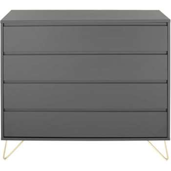 Elona Chest Of Drawers, Charcoal and Brass (100 x 120cm)