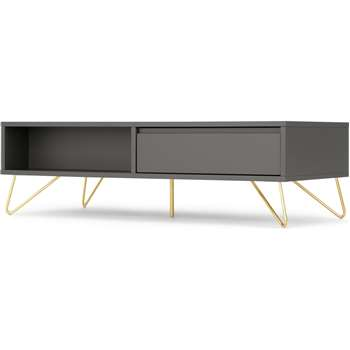 Elona Coffee Table, Charcoal and Brass (H36 x W120 x D55cm)