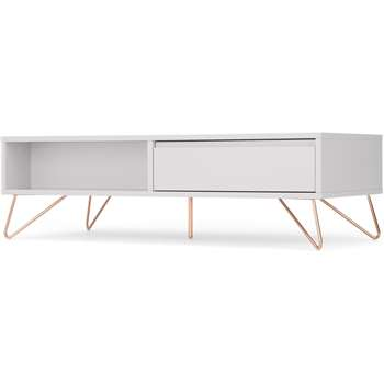 Elona Coffee Table, Light Grey and Copper (H36 x W120 x D55cm)
