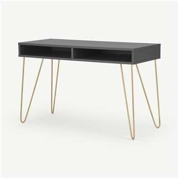 Elona Console Desk, Charcoal & Brass (H76 x W120 x D50cm)