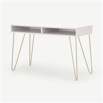 Elona Console Desk, Ivory White & Brass (H76 x W120 x D50cm)