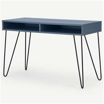 Elona Console Desk, Slate Blue & Black (H76 x W120 x D50cm)