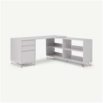 Elona Corner Desk with Open Sideboard, Grey & Copper (H75 x W160 x D160cm)
