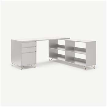 Elona Corner Desk with Open Sideboard, Ivory White & Brass (H75 x W160 x D160cm)
