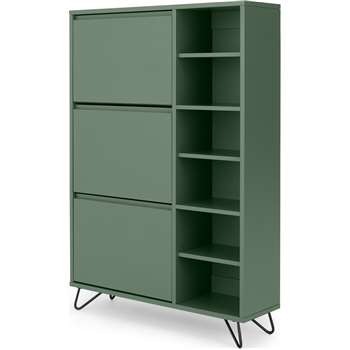 Elona Double Shoe Storage, Fern Green & Black (H130 x W90 x D25cm)