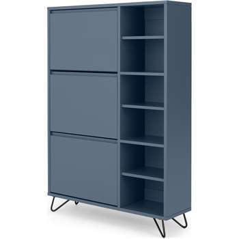 Elona Double Shoe Storage, Slate Blue & Black (H130 x W90 x D25cm)