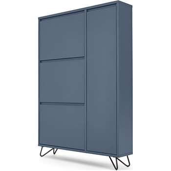 Elona Shoe Storage, Slate Blue & Black (H130 x W90 x D20cm)