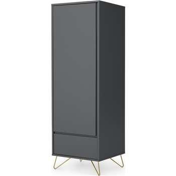 Elona Single Wardrobe, Charcoal & Brass (H180 x W60 x D57cm)