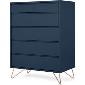 Elona Tall Multi Chest of Drawers, Blue & Copper Legs (H113 x W81 x D45cm)