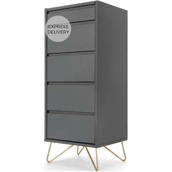 Elona Vanity Chest Of Drawers, Charcoal and Brass (H111 x W45 x D40cm)