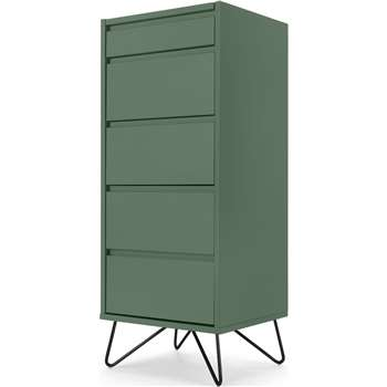 Elona Vanity Chest of Drawers, Fern Green & Black (H111 x W45 x D40cm)