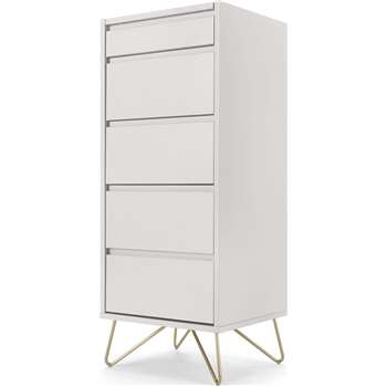 Elona Vanity Chest of Drawers, Ivory White & Brass (H111 x W45 x D40cm)
