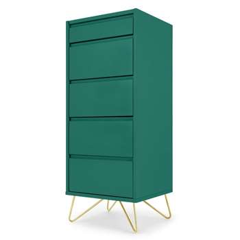 Elona Vanity Chest Of Drawers, Racing Green (H111 x W45 x D40cm)