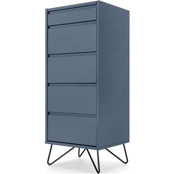 Elona Vanity Chest of Drawers, Slate Blue & Black (H111 x W45 x D40cm)
