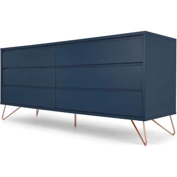 Elona Wide Chest of Drawers, Dark Blue and Copper (H70 x W160 x D45cm)