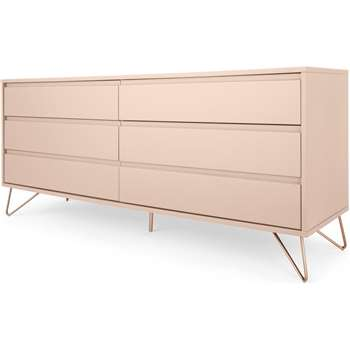 Elona Wide Chest Of Drawers, Dusk Pink and Copper (H70 x W160 x D45cm)