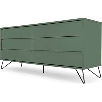 Elona Wide Chest of Drawers, Fern Green & Black (H70 x W160 x D45cm)