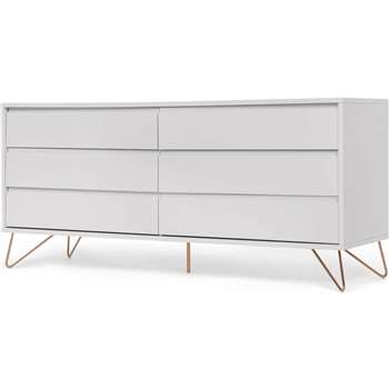 Elona wide chest of drawers, grey and copper (70 x 160cm)
